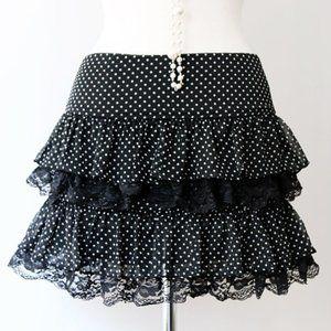 Black Polka Dot Tiered Lace Ruffle Tutu Mini Skirt